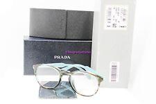 PRADA VPR 19S-F UEN-1O1 Turquoise Havana Round 50mm RX Eyeglasses NWT AUTH