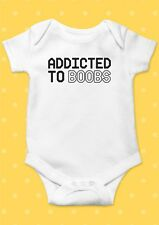 Addicted To Boobs Smile Funny Cool Baby Shower Boy Girl Bodysuit Romper 20