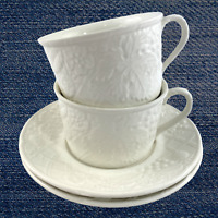 "Mikasa Set of 2 Cups & Saucer DP900 English Countryside White 2 1/4"" Cup Height"