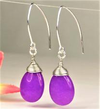 Wire Wrapped Handcrafted Marquise Earrings Purple Jade Teardrop Briolette Silver