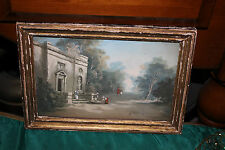 Antique Victorian Miniature Water Color Painting-Family Building Trees-Signed
