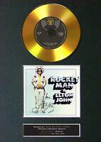 #133 ELTON JOHN Rocket Man GOLD CD Signed Autograph Mounted A4