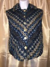 OJAI Medium M BOHO Shag Vest Jacket Blue Brown Pockets Sleeveless Fuzzy Coat LN