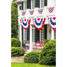 New listing Printed Stripes Stars Us Pleated Fan Bunting Half Banner Flag Independence Day