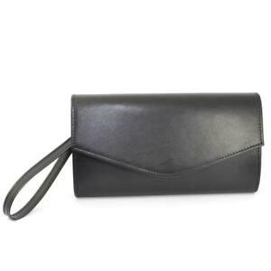 Pochette donna made in italy in ecopelle nero con catena e chiusura clip linea b