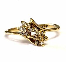14k yellow gold .07ct womens diamond cluster flower ring 1.8g estate vintage