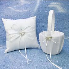 Bridal Flower Girl Basket + Ring Pillow White Satin Crystal Heart Wedding Party