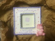 Vintage RUSS April's Child Ceramic Picture Frame 4.25x4 .25inches NOS
