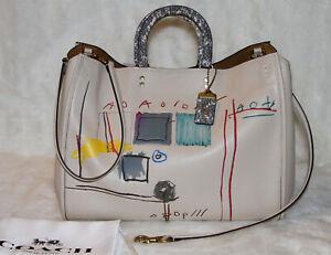 COACH 6877 Rogue 39 Jean-Michel Basquiat Snakeskin Tote Bag Purse Handbag Ivory