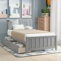 Twin Size Bed Frame Matress Platform with 2pcs Storage Drawers With Wood Slats
