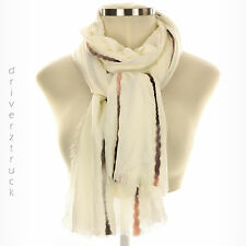 SIMPLY VERA WANG Lightweight WHITE Scarf OVERSIZED WRAP PINK GRAY BLACK Accents