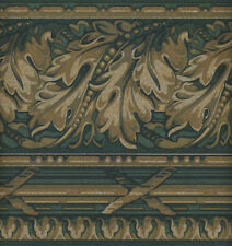 ARCHITECTURAL TAN AND GREEN LEAF  WALLPAPER BORDER