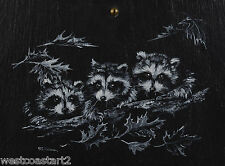 Sue Coleman Painting Three Racoons Listed Canadian Artist