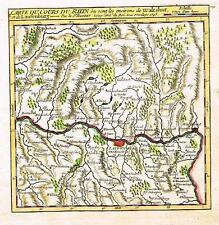 """Vaugondy Map -1748- """"CARTE DU COURS DU RHIN"""" - Hand-Colored Engraving"""