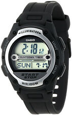 Casio W756-1A Mens REFEREE TIMER Watch World Time Black Resin Band New