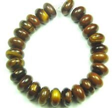 25 SHINY NATURAL Tiger Iron Roundel/Rondelle Beads 13mm K4619