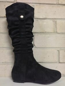 """WOMENS""""HALT""""BY NO!SHOES FLAT HEEL KNEE HIGH  BOOTS BLACK MICRO sz5to11"""
