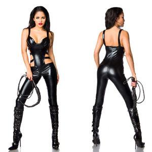 Ladies Sexy faux leather wetlook bodysuit Catsuit Costume crotch zip UK 8-16