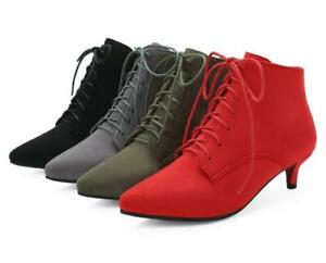 Ladies Pointy Toe Kitten Heel Ankle Boots Lace Up Casual Faux Suede Shoes Womens