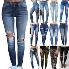 Womens Ladies Knee Ripped Skinny Denim Jeans Stretch Distressed Leopard Pants