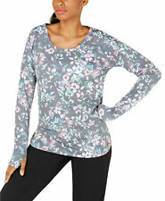 Ideology 👀 NWT $40 😍Grey Pink Sweat Shirt Top Floral Size Medium Pullover LL58