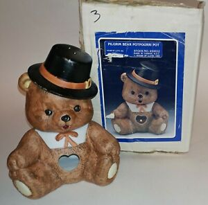 1989 House of Lloyd Pilgrim Bear Potpourri Pot - NEW Original Box