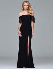 LADY BLACK EVENING OFF SHOULDER LACE ELEGANT LONG MAXI DRESS SIZE L/10-12 UK