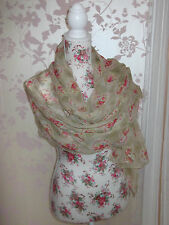 BEIGE LONG VINTAGE FLORAL PRINT LADIES FASHION SCARF WRAP SHAWL PASHMINA NEW