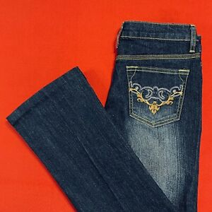 SOUTH  POLE ... Embroidered  Bootcut  Dark  Denim  Blue  Jeans .. Size 5 ... NEW