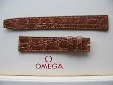NOS Vintage Omega 16 mm Marron Crocodile strap-SUPERBE-utilise un 14 mm BOUCLE