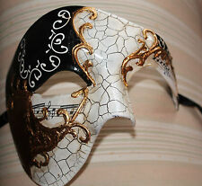 QUALITY BLACK & GOLD HALF FACE PHANTOM MUSICAL NOTES MASQUERADE MASK