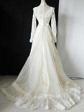 Vtg Union Made Wedding Dress Victorian Lace Bead Trim Ivory Floor Length Size S