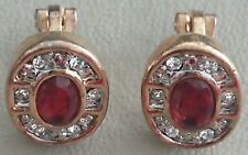 Garnet Early Clip On Earrings Antique Vintage Gold Tone Crystal