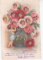 CPA 105 - Fantaisie - Les anges bouquet de fleurs