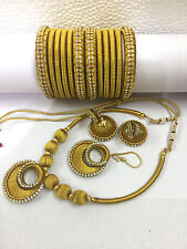 necklace ,jhumki earring& bangles 2-4 Bollywood fashion jewellery silky thready