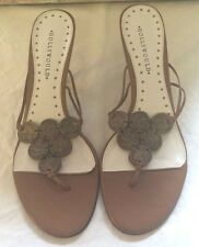 "Hollywould Tan Leather Thong Sandals 3"" Heel Metal Coin Embellishments Sz 9 1/2"