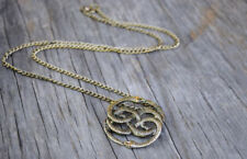 Never Ending Story Snake Pendant, antique double Snake Circle pendant Necklace