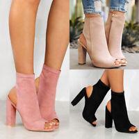 Damen High Heels Blockabsatz Sandalen Peep Toe Pumps Stiefeletten Schuhe Party