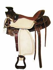 "ROPER WADE TREE SADDLE TOOLED NATURAL/MAHOGANY 16"" BROWN SUEDE SEAT (2003)"
