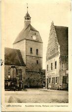 uralte AK, Mühlberg/Elbe, Neustädter Kirche, Rathaus und Kriegerdenkmal