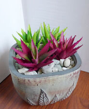 Artificial Grass Two Colors Aloe Plastic Succulents Plants (Set of 4)