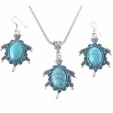Jewelry Set Stone Turquoise Turtle Shaped Pendant Retro Necklaces Earring LG