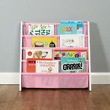 White/Pink Childrens Book Case Sling Storage Rack Shelf Girls Bedroom Furniture
