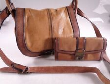 Fossil Long Lived Vintage Brown Two Tone Leather Crossbody Purse/Wallet Bundle