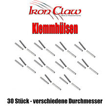 Iron Claw Klemmhülsen Quetschhülsen 30 Stück verschiedene Durchmesser 16mm Länge