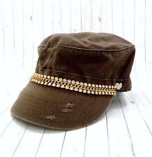 f83b3a5896591 Women's Military Hat Brown Rhinestone Crystal Bling Adjustable Cadet Cap New