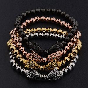 Fashion Men's Rhodium Plated Zircon Panther Leopard Head Beaded Bracelets Gifts