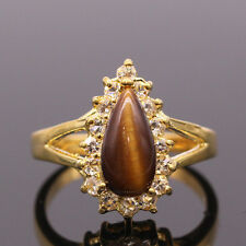 New Woman Retro Tigers Eye Stone Party Cocktail Rings 24KGP Size 7 Lady Jewelry