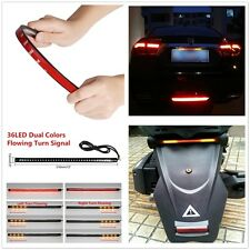 "12"" 36 LED Dual Colors Light Strip Tail Brake Stop Flowing Turn Signal Indicator"