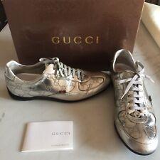 cd26e34fb03899 Scarpe Da Ginnastica Sneakers Gucci Pelle Argentata Guccissima Logo 36 1 2